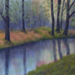 Woodland Reflections : An original pastel by landscape artist Sue Thomas