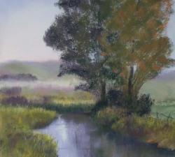 Autumn River : An original pastel by landscape artist Sue Thomas