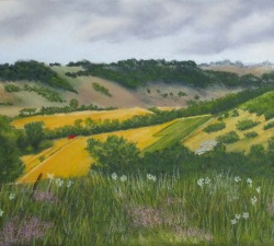 Chute Valley : An original pastel by landscape artist Sue Thomas
