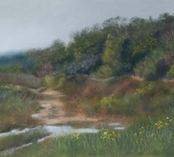 Spring, After the Rain : An original pastel by landscape artist Sue Thomas