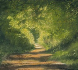 Sunlit Lane: An original pastel by landscape artist Sue Thomas