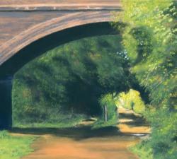 The Old Railway Bridge : An original pastel by landscape artist Sue Thomas