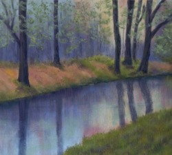 Woodland Reflections: An original pastel by landscape artist Sue Thomas